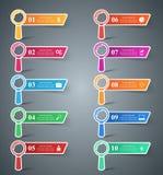 Set 10 loupe infographic. Royalty Free Stock Image