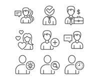 Love, Businessman case and Find user icons. Person talk, User idea and Add person signs. Set of Love, Businessman case and Find user icons. Person talk, User Royalty Free Stock Images