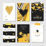 Set of Love Cards with Gold Glitter Stock Photo