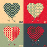 Set of 4 love cards. Heart and arrow. Love cards set. Colorful. Optical Illusions Stock Photography