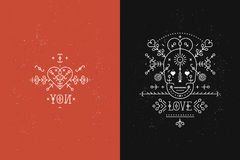 Set of Love cards. With line romantic and abstract elements. Vector lines, skull, heart, font on black and red backgrounds with grunge texture. Hipster style Stock Photo