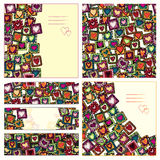 Set of love cards and seamless pattern. Royalty Free Stock Photo