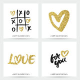 Set of love cards for Valentine's Day or wedding Stock Photos
