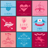 Set of Love Cards Stock Photography