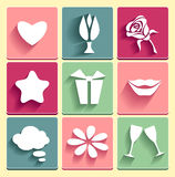 Set Love chat favorites congratulation  icons Royalty Free Stock Image