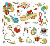 Set of love doodles icons isolated on white background. Stock Photo