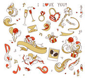 Set of love doodles icons  on white background. Stock Photo