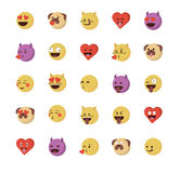 Set of  love  emoticon Stock Photography