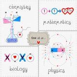 Set love it. Set of funny greeting cards love this is, chemistry, mathematics, physics, biology. Each picture image is on a separate layer Stock Image