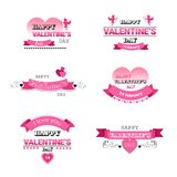 Set love greeting cards happy valentines day holiday concept pink amour cupid heart shape postcards collection isolated. Flat vector illustration vector illustration