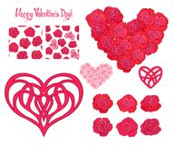 Set of Love heart, roses, bouquet of roses and seamless patterns Stock Photography
