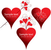 Set of love hearts. Set of love decorative Valentine hearts Royalty Free Stock Image
