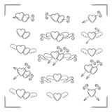 Set of love hearts. Collection of stylized vector icons of love hearts with arrows and ribbons Royalty Free Stock Photos
