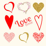 Set of love hearts in red and gold colors  on white Royalty Free Stock Images