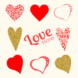 Set of love hearts in red and gold colors  on white Royalty Free Stock Photography
