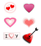 Set of love icons. A collection of different love/heart icons isolated over white background Stock Photo