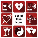 Set of love icons. Of hearts, glasses, love messages and the inscription `I love you Stock Photos