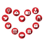 Set of love icons with long shadow in circles isolated on white Stock Photography