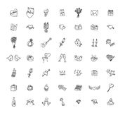 Set of love icons, vector illustration. Royalty Free Stock Photo