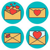 Set of love letter. Envelope with heart. Set of love letter. Envelope with heart, kiss. Vector flat illustration Stock Images