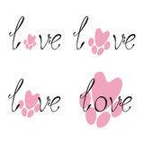 Set of love lettering and paw print Royalty Free Stock Photo