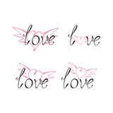 Set of love lettering with wingy heart Royalty Free Stock Photos