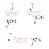 Set of love letterings with wingy hearts Royalty Free Stock Photos