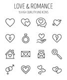 Set of love in modern thin line style. Royalty Free Stock Photography