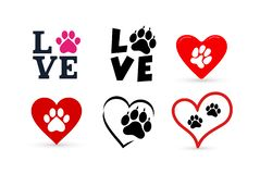 Set of Love with pet footprint. Funny logo saying. Design for scrapbooking, posters, textiles, gifts, t shirts. Vector