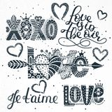 Set of love quotes. Hand drawn lettering. Happy Valentine`s Day. Xoxo. Je t`aime. Freehand style. Romantic holiday Royalty Free Illustration