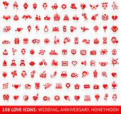 Set love red icons Stock Image