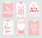 Set of love and romantic cards. Template for invitation, scrapbooking, wedding, journaling or diary. Inscriptions. Stock Images