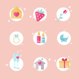 Set of love, romantic and family icons. Valentine's day objects. Royalty Free Stock Images