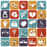 Set of love and romantic flat icons. Vector illust. Collection of 25 love and romantic icons with long shadows. Vector illustration Stock Photos