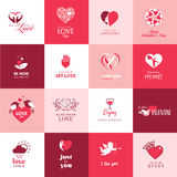 Set of love and romantic icons for Valentines day stock illustration