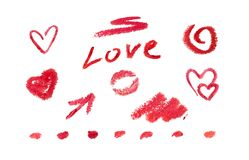 Set love scrap-book elements by red lipstick. Romantic doodle collection for Invitation, greeting card. Valentine day
