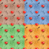 Set of love seamless pattern Stock Image