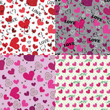 Set of love Seamless pattern or background with hearts Stock Image