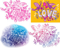 Set of Love sketchy. With birds stock illustration