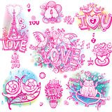 Set of  love sketchy Royalty Free Stock Photo