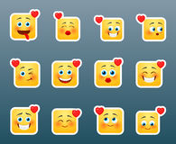 Set of love smile stickers Stock Photography
