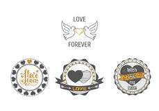 Set of love stamps in gray and with gold sparkles . Stock Images
