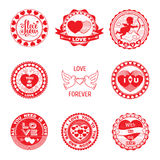 Set of love stamps in red. Royalty Free Stock Photography