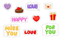 Set of love sticker. Flat and cartoon style. Vector illustration on white background. stock illustration