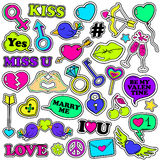 Set Of Love Stickers In 80s-90s Pop Comic Style. Royalty Free Stock Photography