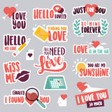 Set of love stickers for social network Stock Photos