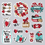 Set of love stickers for social network Royalty Free Stock Image