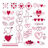 Set of love symbols. Design elements. Royalty Free Stock Photography