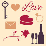 Set love symbols. Set of flat icons for Valentine's day or for wedding Stock Photo