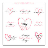Set of love text with pink heart - all you need is love, i love you, amore Royalty Free Stock Photo